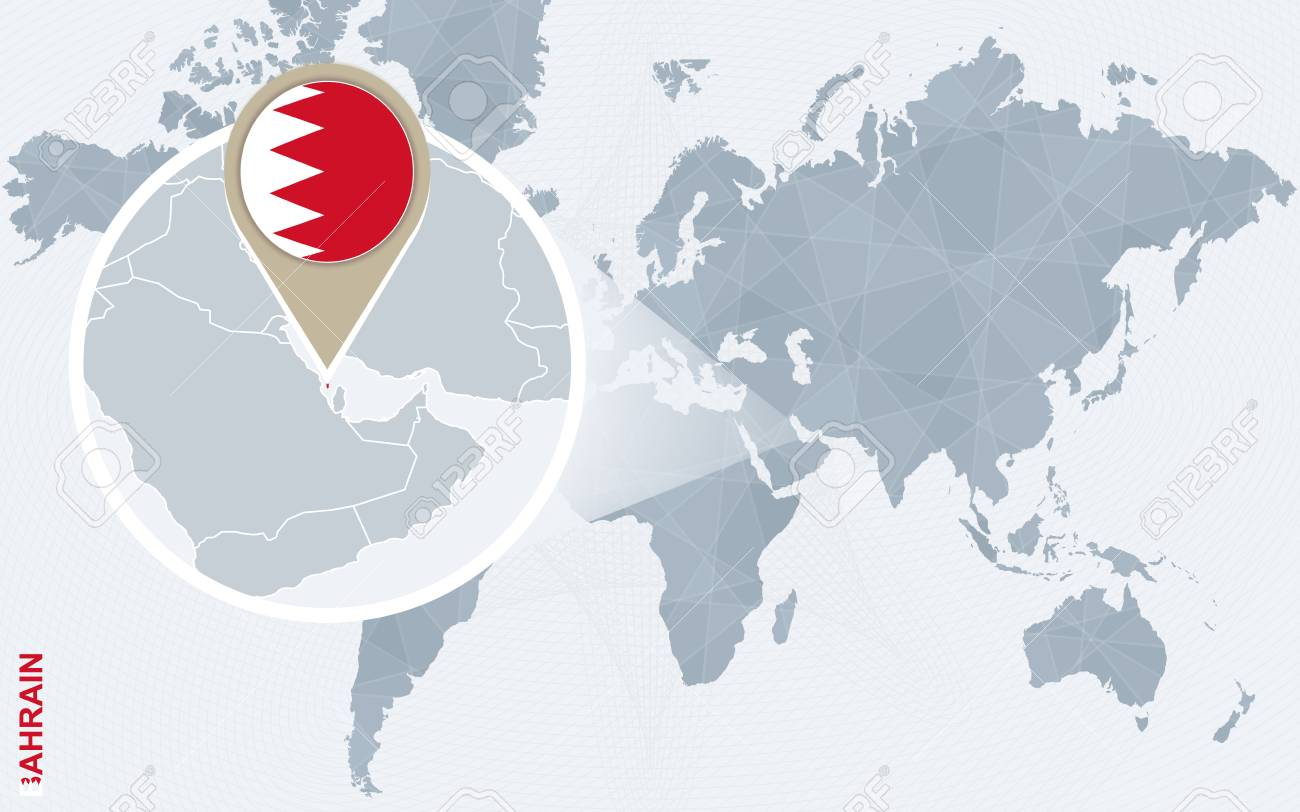 Abstract Blue World Map With Magnified Bahrain. Bahrain Flag ...