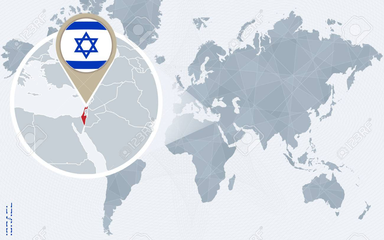 Abstract blue world map with magnified israel israel flag and abstract blue world map with magnified israel israel flag and map vector illustration gumiabroncs