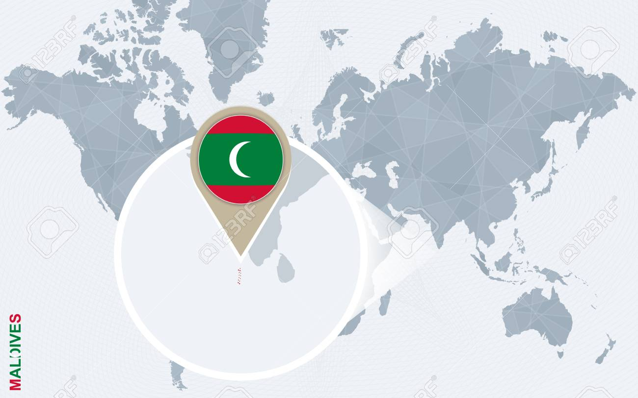 Maldives On A World Map.Abstract Blue World Map With Magnified Maldives Maldives Flag