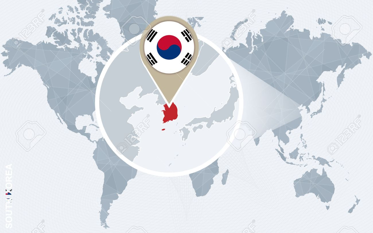 Abstract blue world map with magnified south korea south korea abstract blue world map with magnified south korea south korea flag and map vector gumiabroncs Choice Image