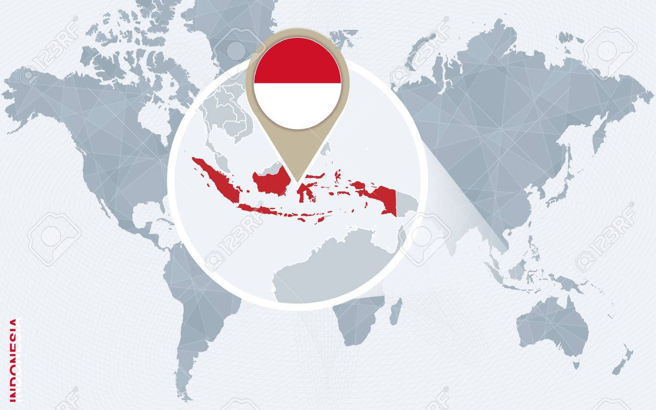 Abstract Blue World Map With Magnified Indonesia. Indonesia Flag ...