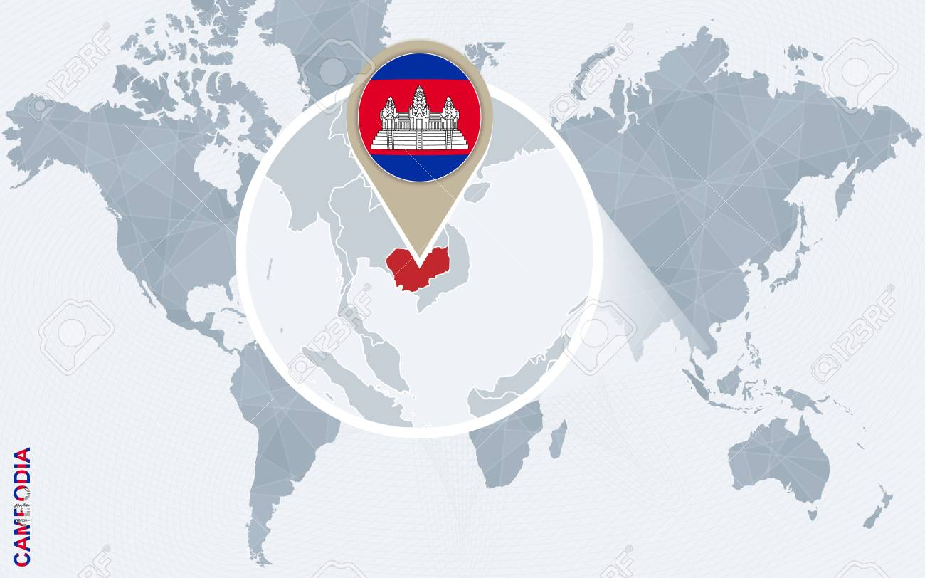 Abstract Blue World Map With Magnified Cambodia Cambodia Flag
