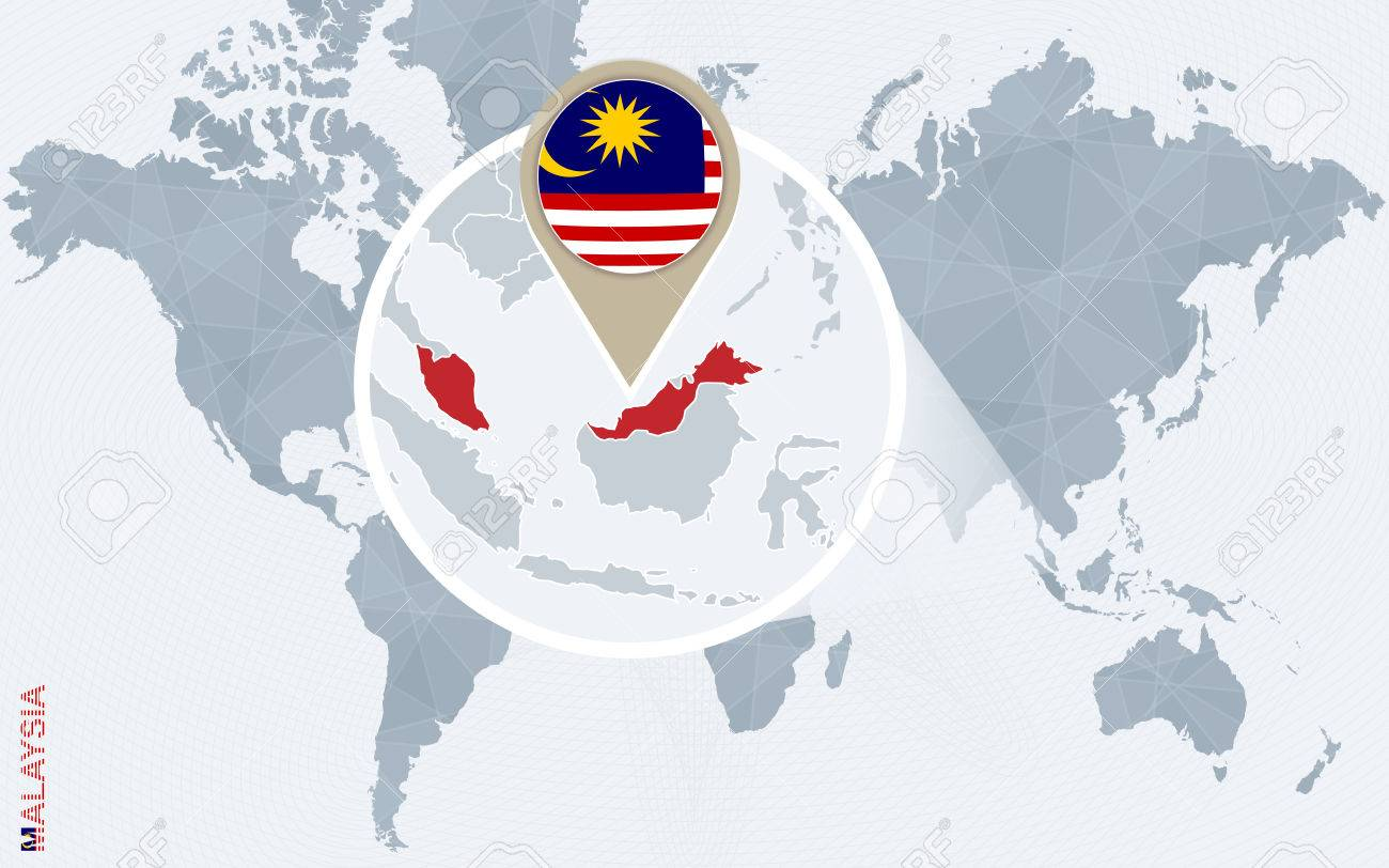 Abstract Blue World Map With Magnified Malaysia. Malaysia Flag ...