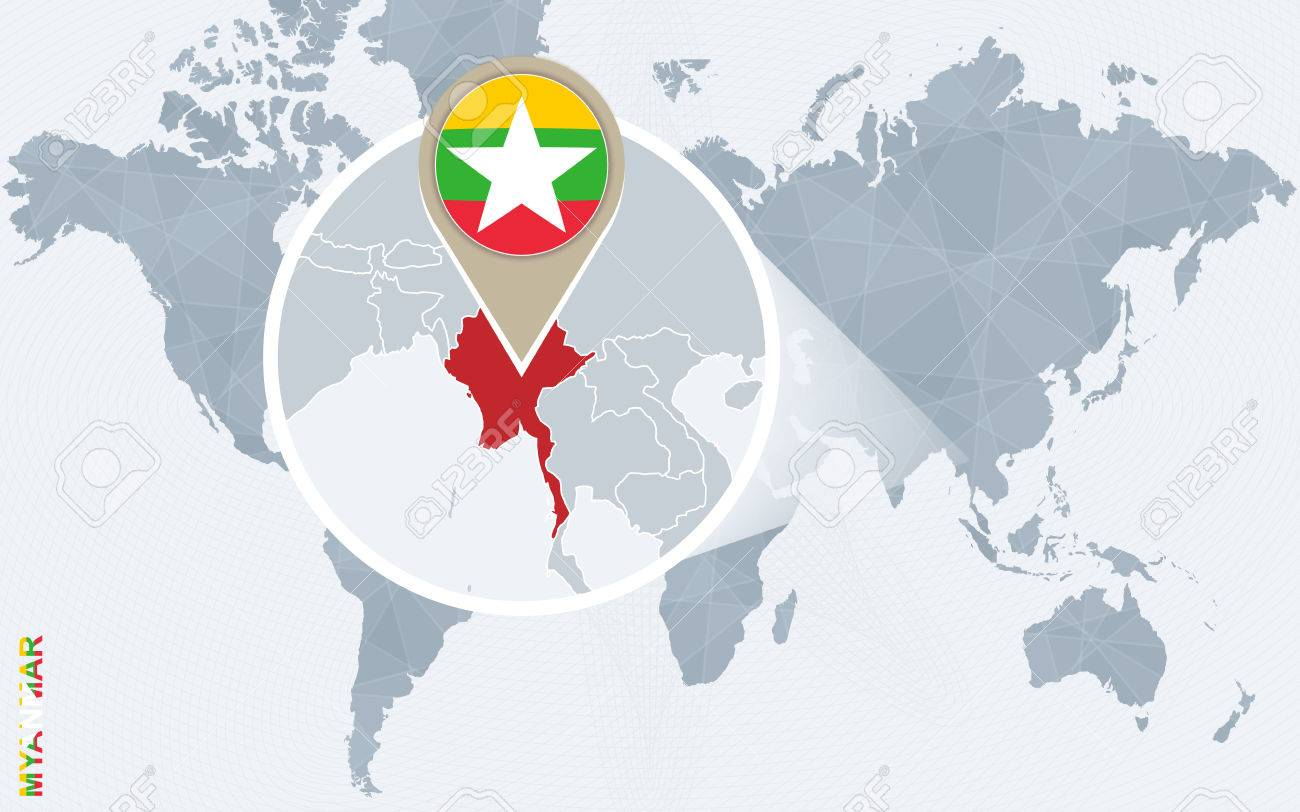 Abstract blue world map with magnified Myanmar. Myanmar flag and map. Vector Illustration. - 61212078
