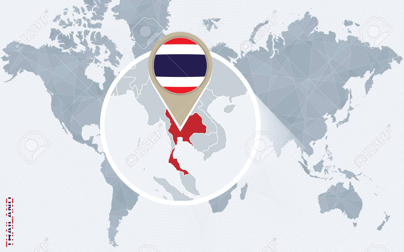Abstract blue world map with magnified thailand thailand flag abstract blue world map with magnified thailand thailand flag and map vector illustration gumiabroncs Images