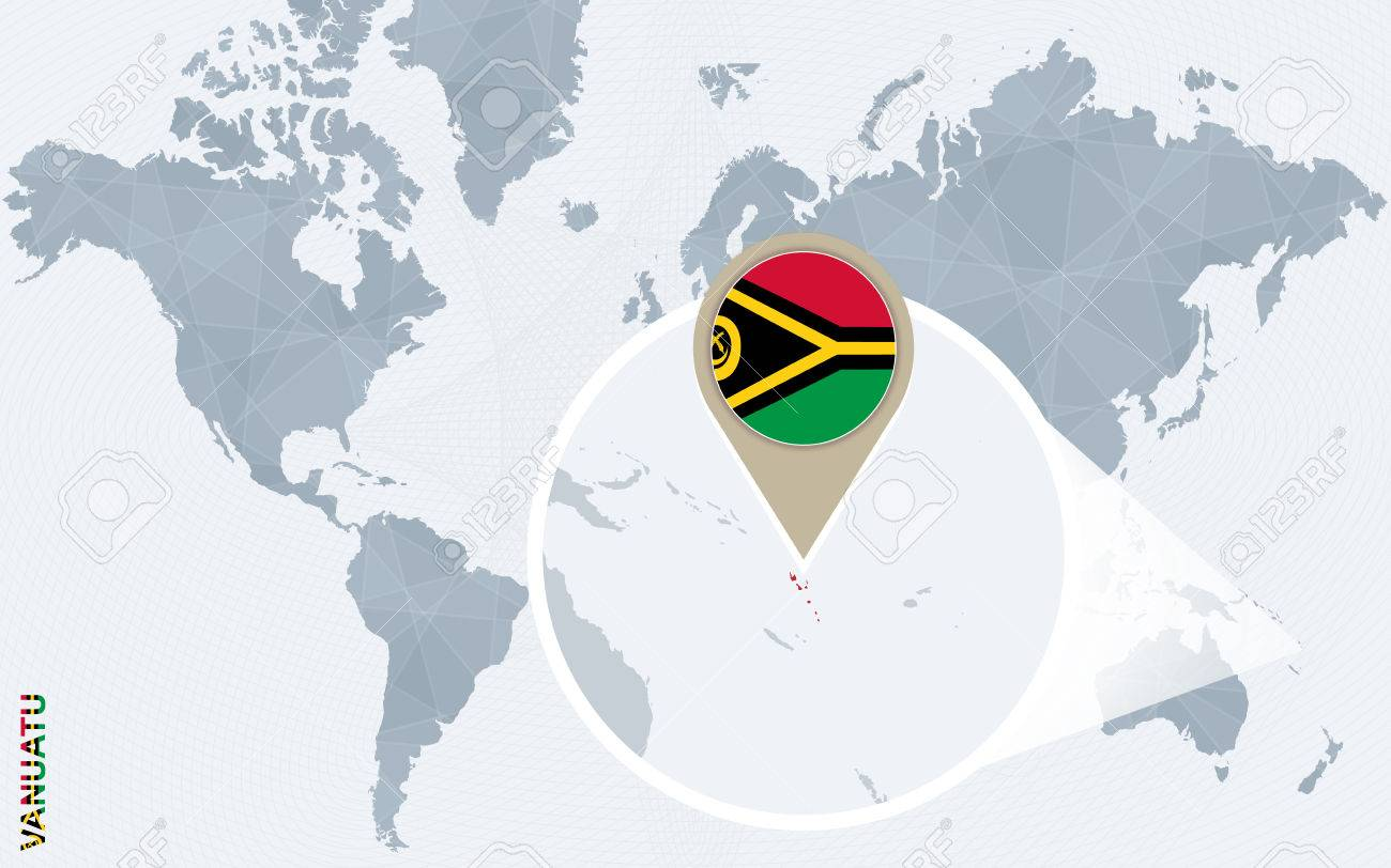 Abstract blue world map with magnified vanuatu vanuatu flag abstract blue world map with magnified vanuatu vanuatu flag and map vector illustration gumiabroncs Images