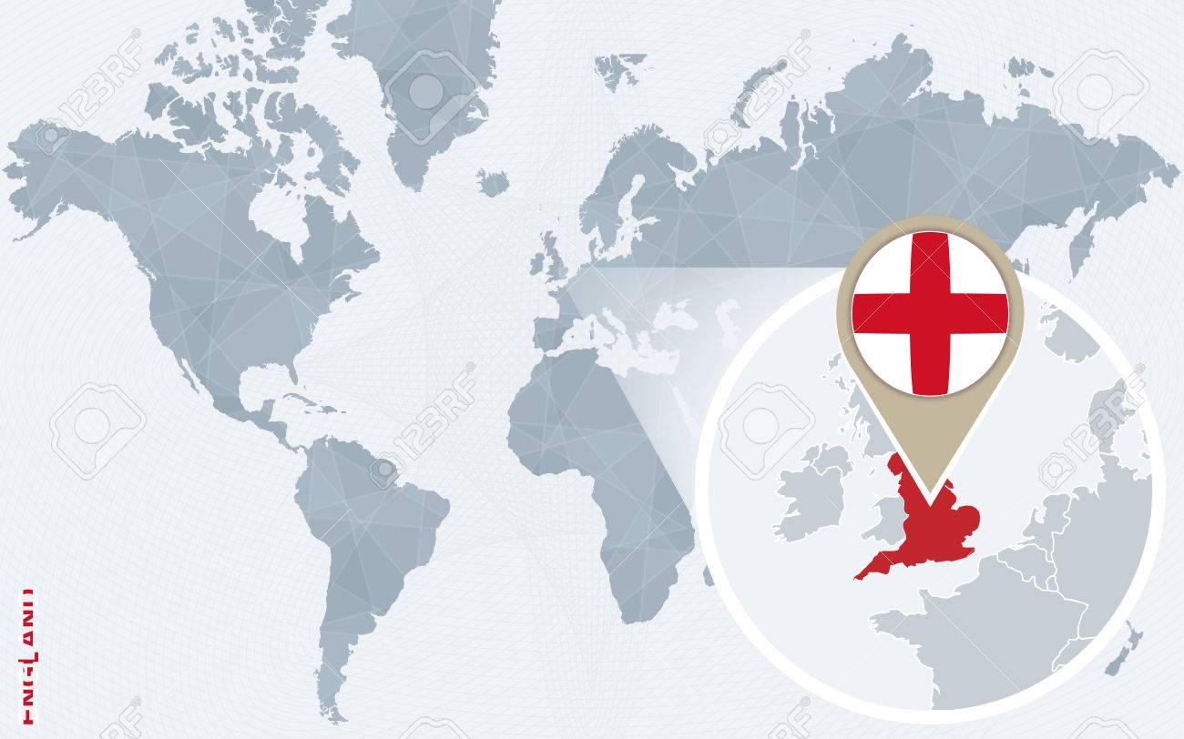 Abstract blue world map with magnified england england flag abstract blue world map with magnified england england flag and map vector illustration gumiabroncs Images