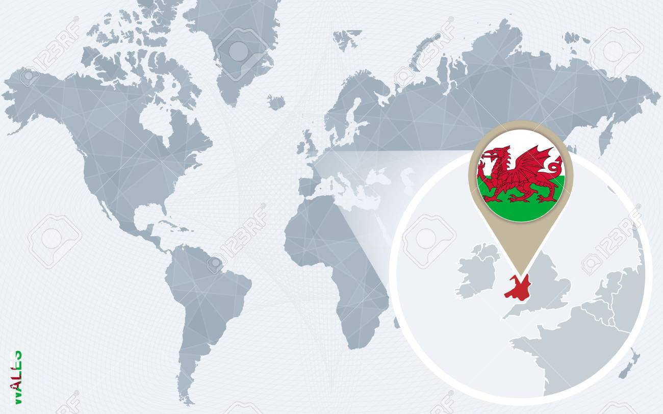 Abstract Blue World Map With Magnified Wales. Wales Flag And