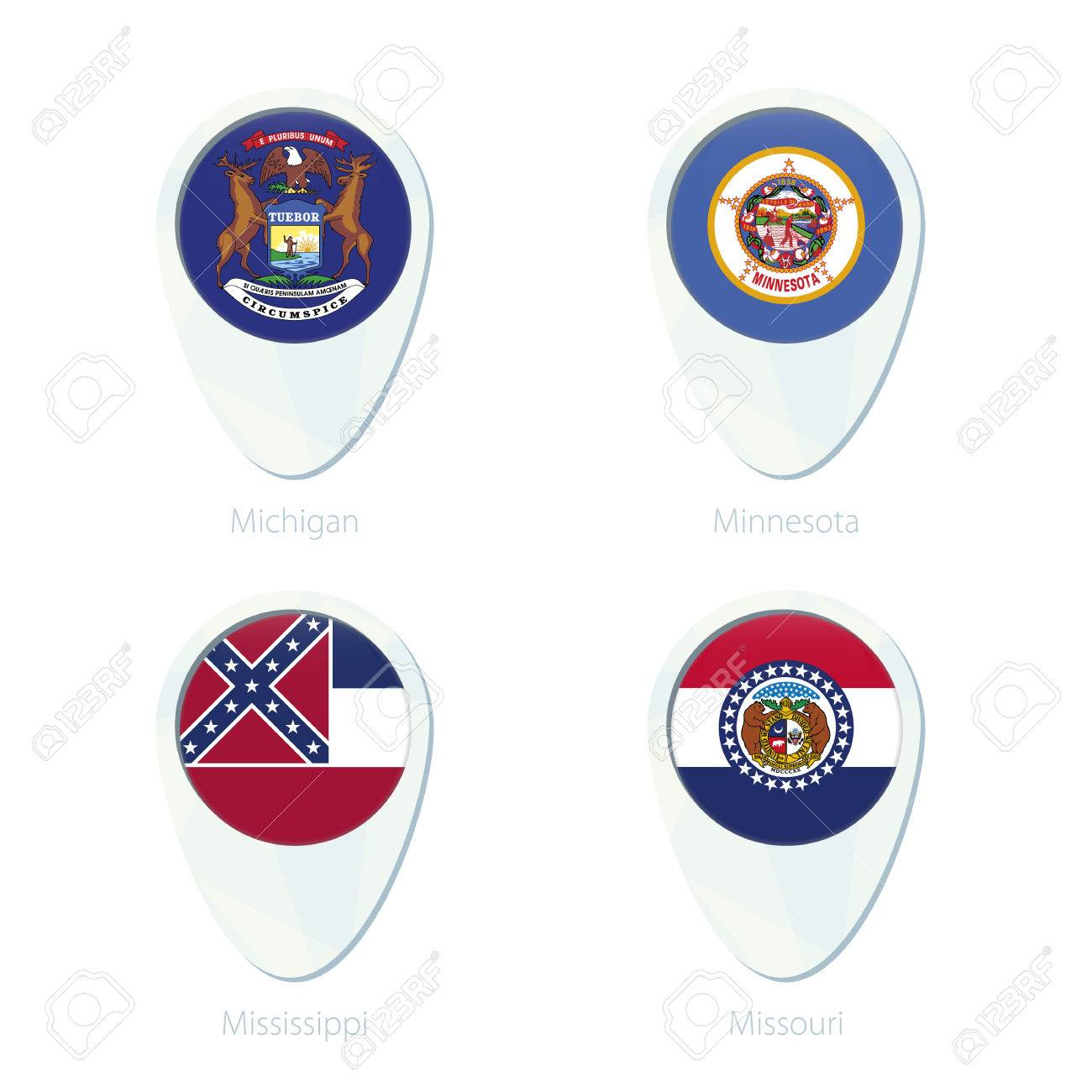 Michigan, Minnesota, Mississippi, Missouri Ubicación Marcador Icono ...