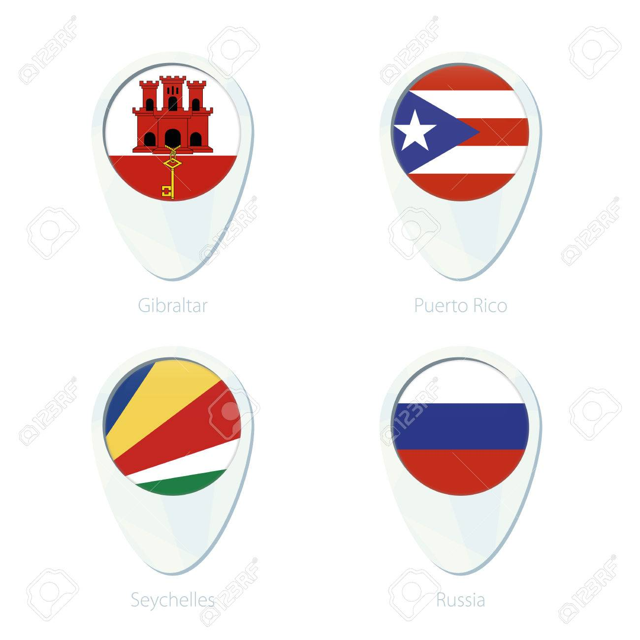 Gibraltar Puerto Rico Seychelles Russia Flag Location Map