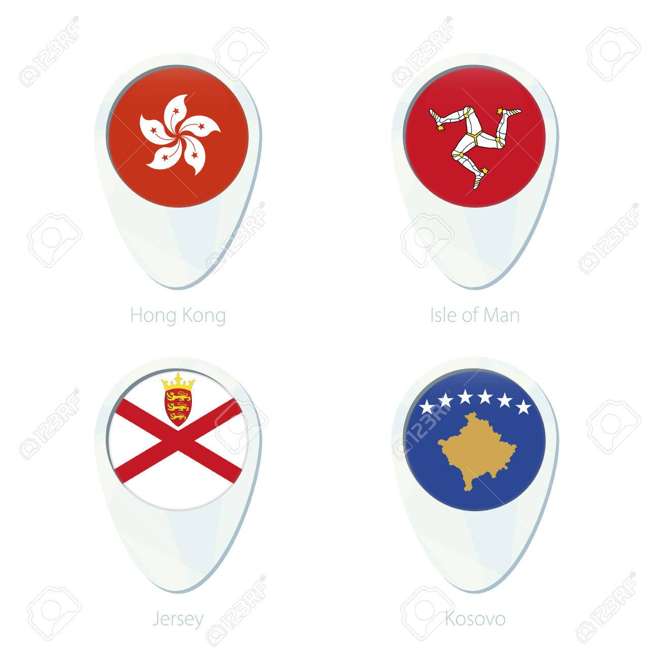 Hong Kong Isle Of Man Jersey Kosovo Flag Location Map Pin