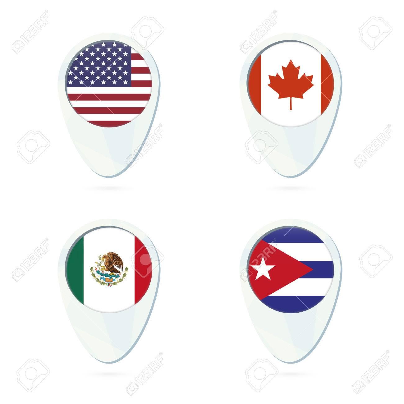 Usa canada mexico cuba flag location map pin icon vector usa canada mexico cuba flag location map pin icon vector illustration sciox Choice Image