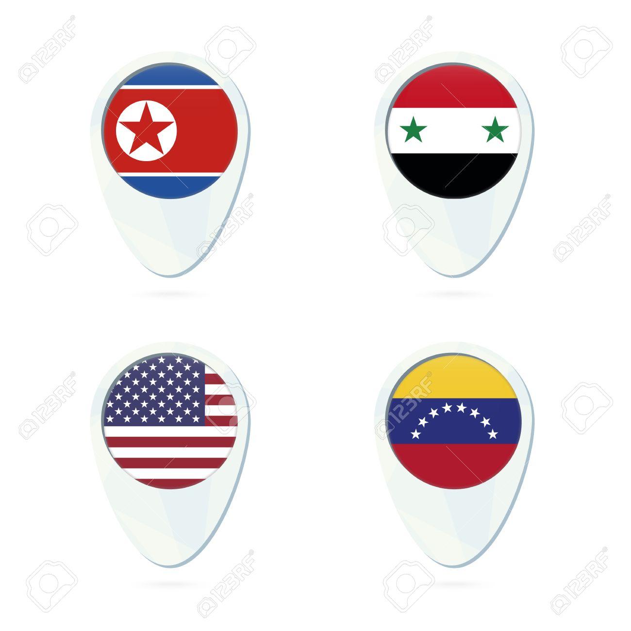 North korea syria usa venezuela flag location map pin icon north korea syria usa venezuela flag location map pin icon north korea sciox Choice Image