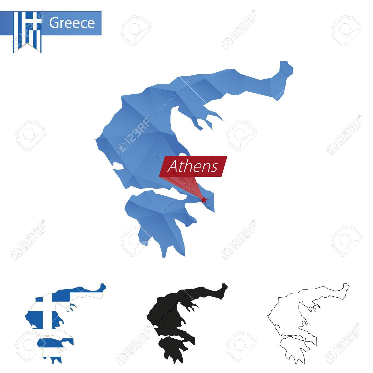 Greece Blue Low Poly Map With Capital Athens, Four Versions Of ...