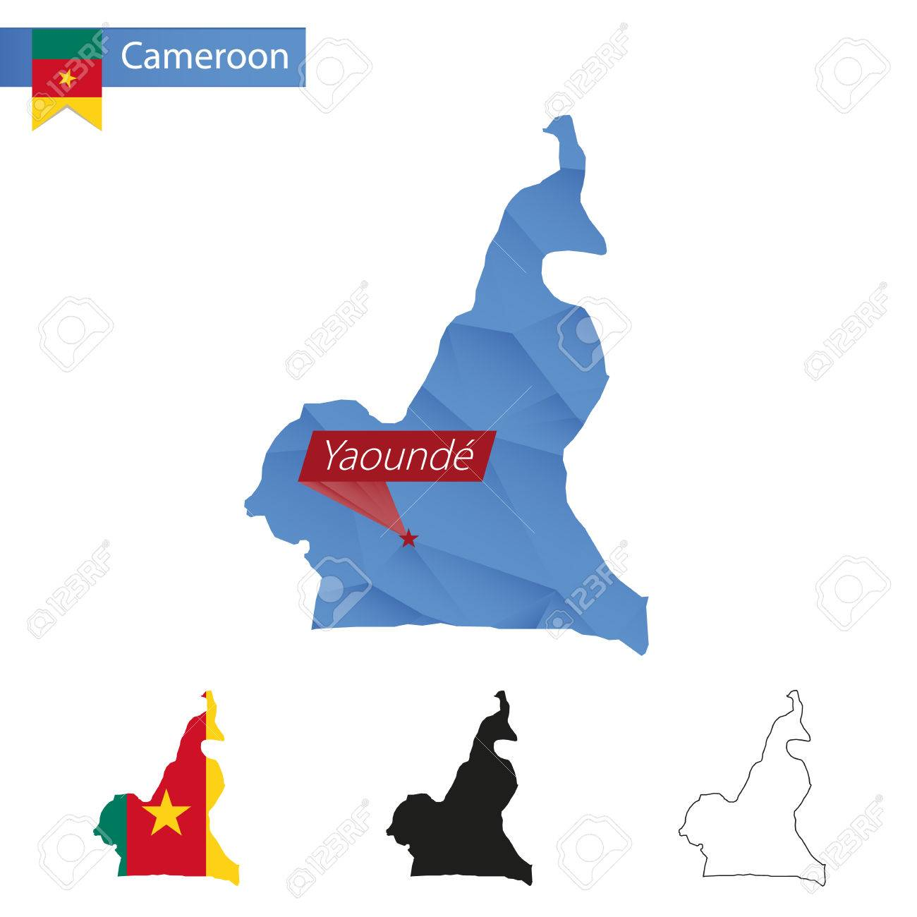 Cameroon Blue Low Poly Map With Capital Yaounde Versions With