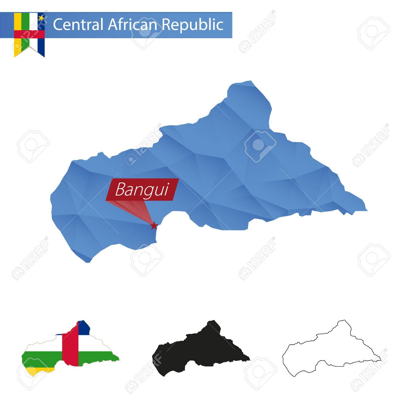 Central African Republic Blue Low Poly Map With Capital Bangui