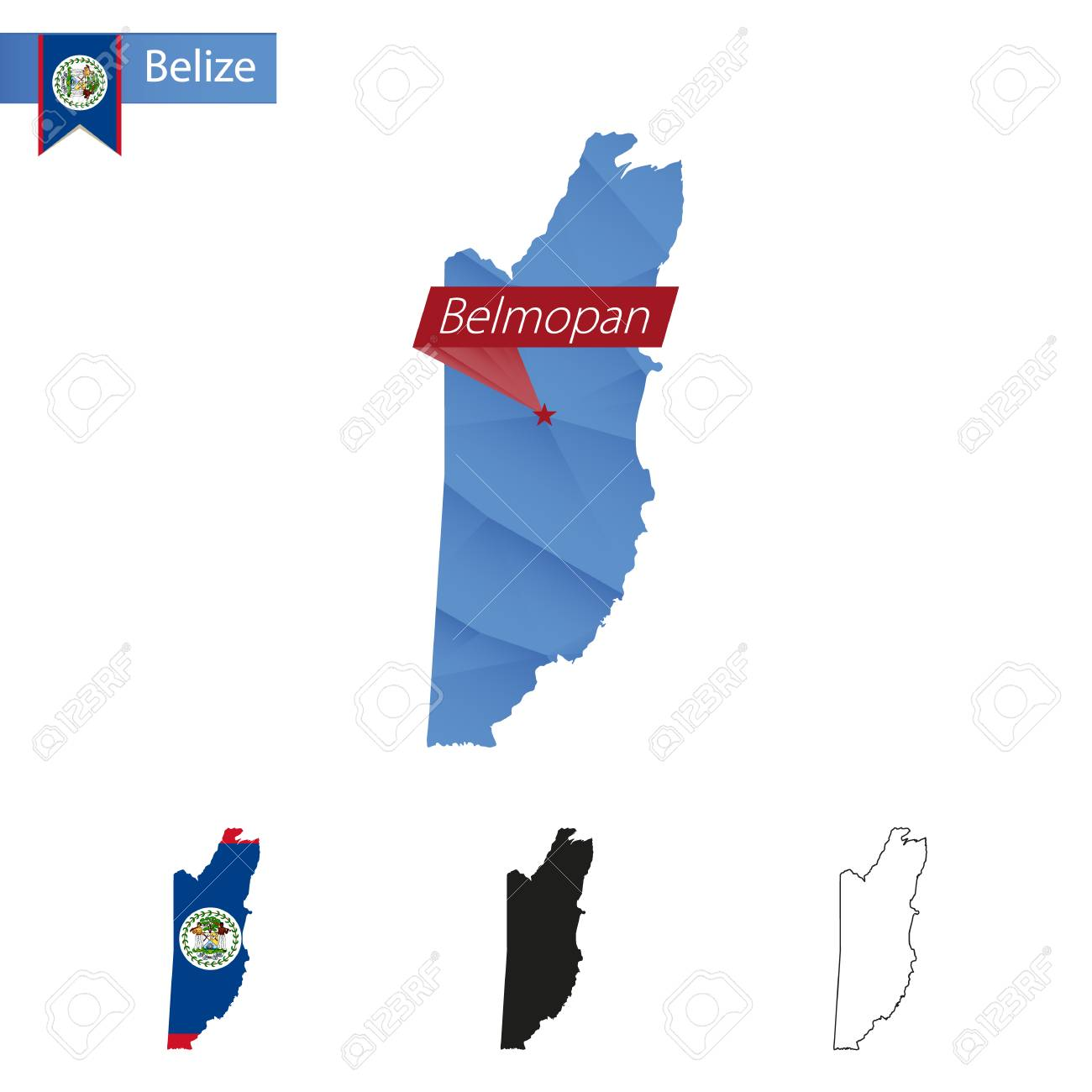 Belize Blue Low Poly Map With Capital Belmopan Versions With - belmopan map