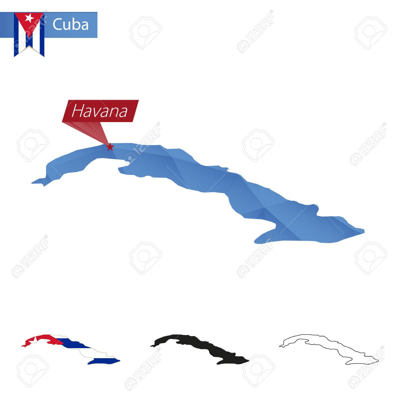 Cuba Blue Low Poly Map With Capital Havana Versions With Flag
