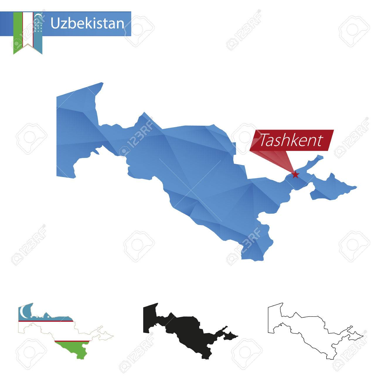 Uzbekistan Blue Low Poly Map With Capital Tashkent Four Versions