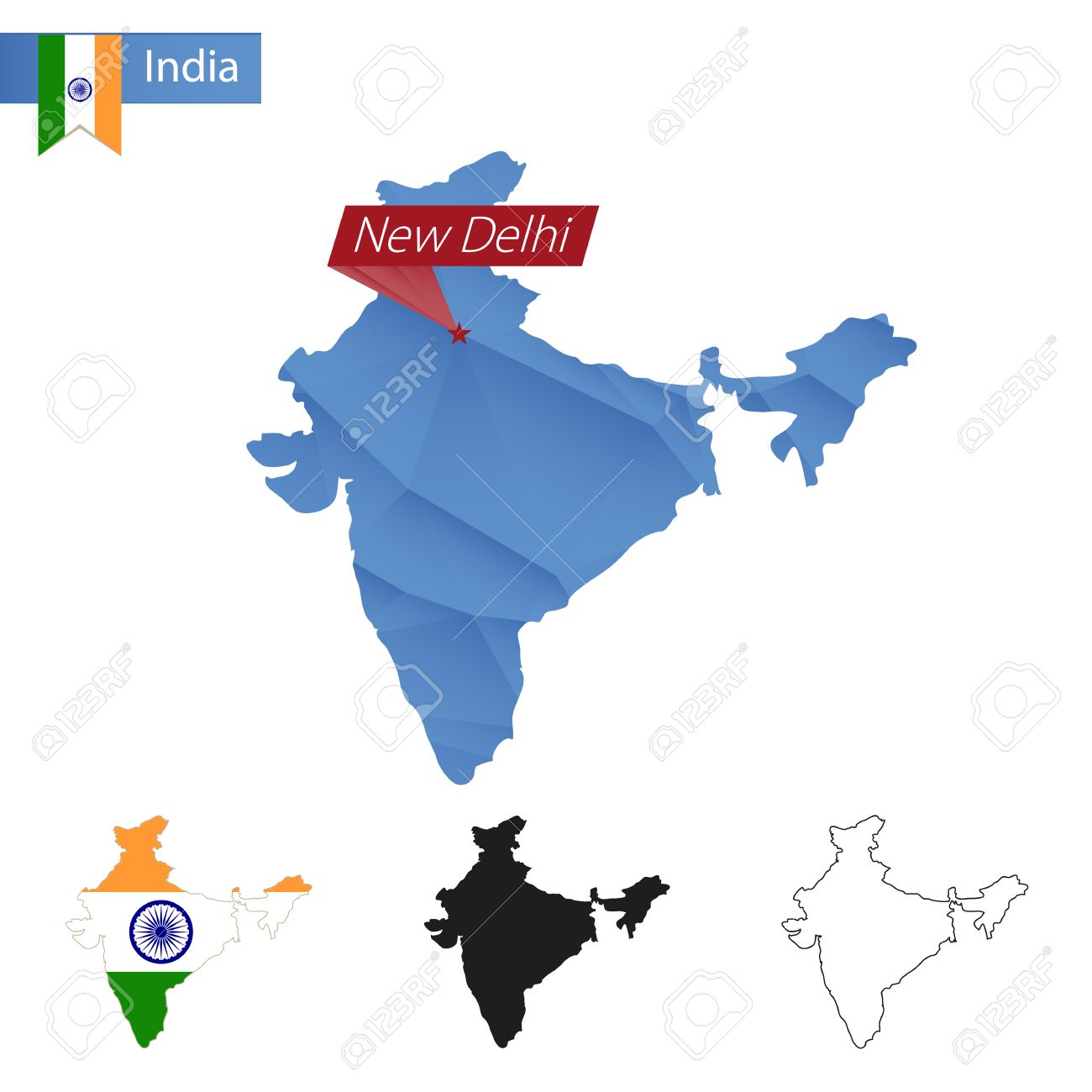 India Blue Low Poly Map With Capital New Delhi Versions With