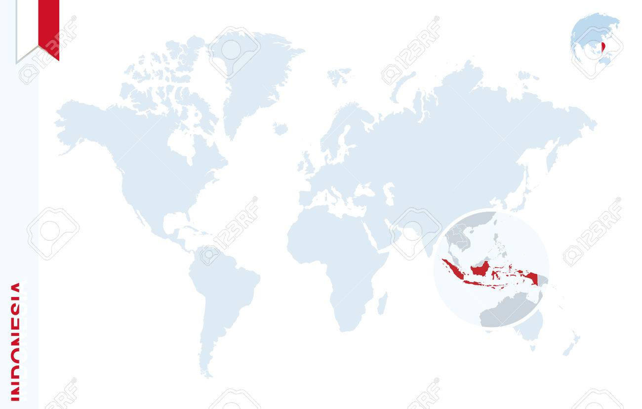 indonésie carte du monde Carte Du Monde Avec Loupe Sur L'Indonésie. Globe Terrestre Bleu