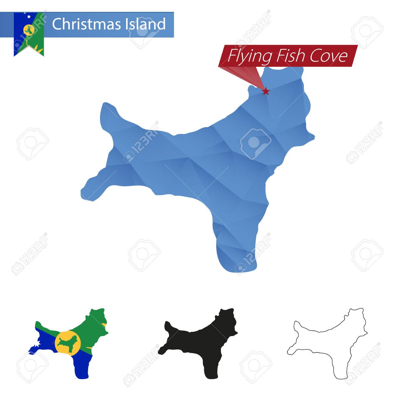 Christmas Island Blue Low Poly Map With Capital Flying Fish Cove ...