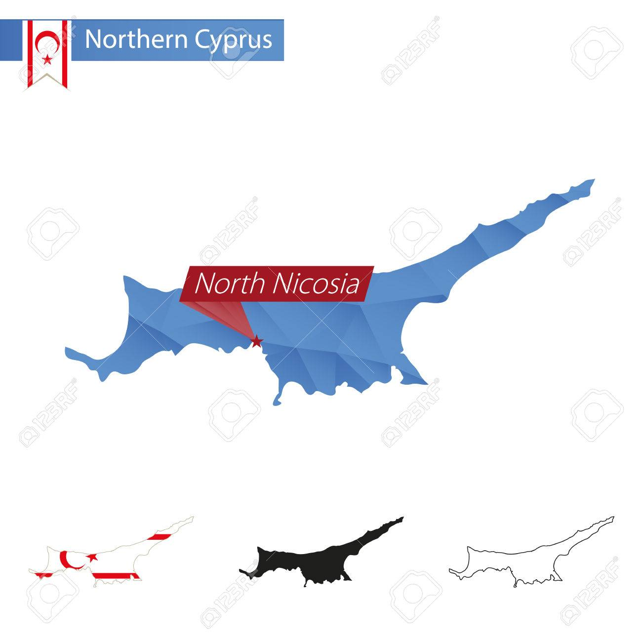 Northern Cyprus Blue Low Poly Map With Capital North Nicosia