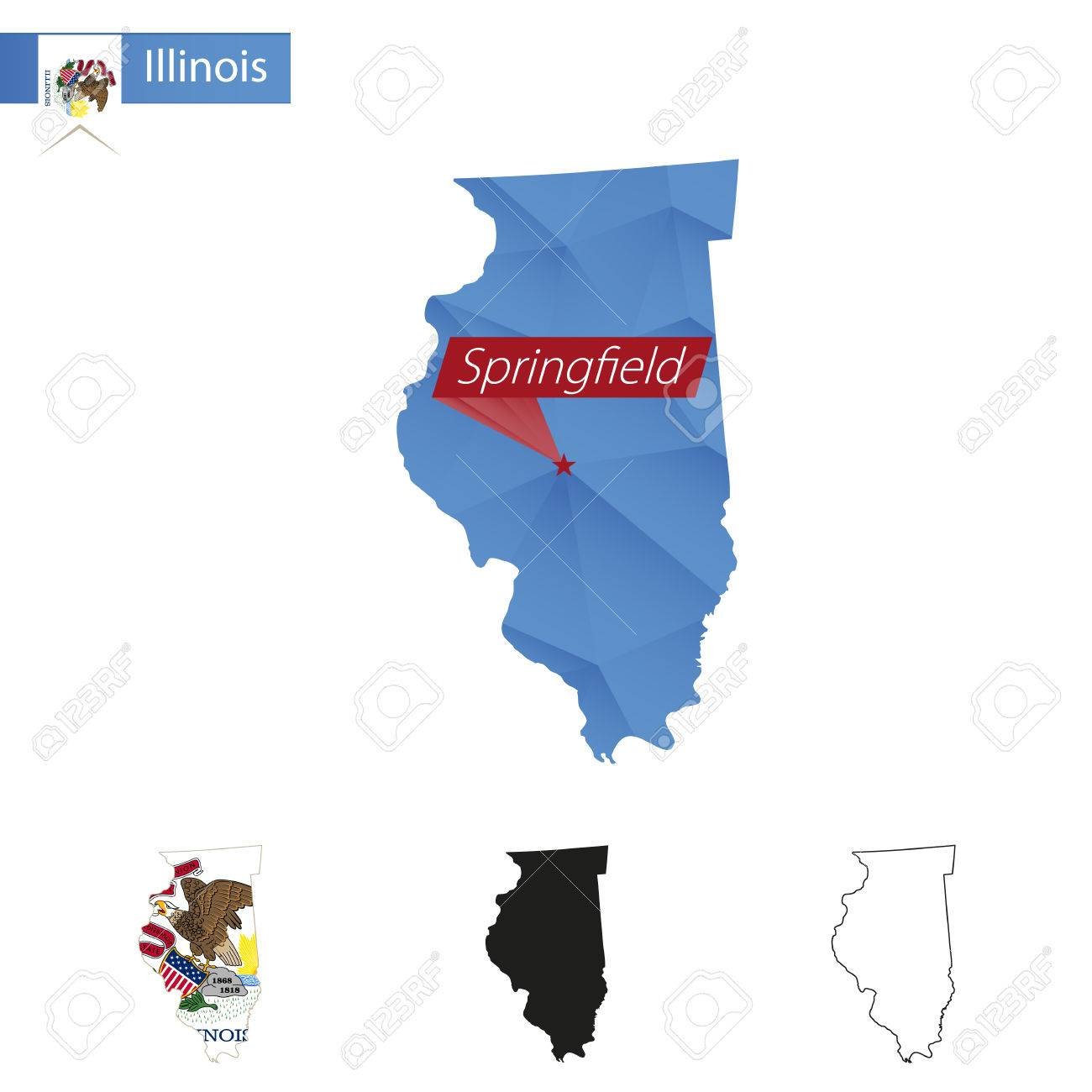 State Of Illinois Blue Low Poly Map With Capital Springfield - Map of illinois with capital