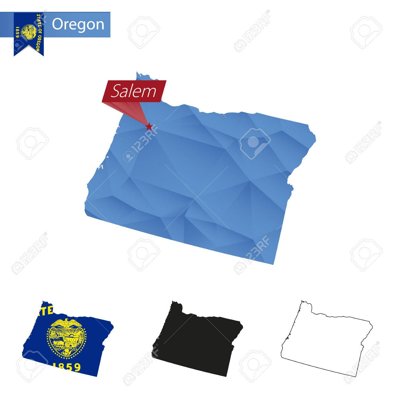 Capital Of Oregon Map.State Of Oregon Blue Low Poly Map With Capital Salem Versions