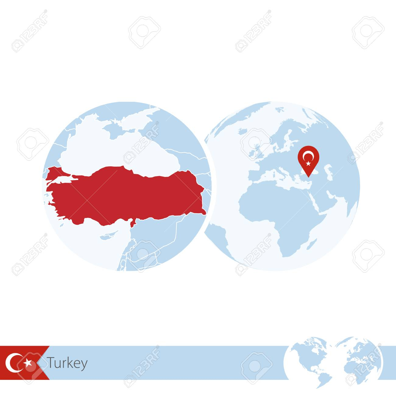 Turkey On World Globe With Flag And Regional Map Of Turkey. Vector ...