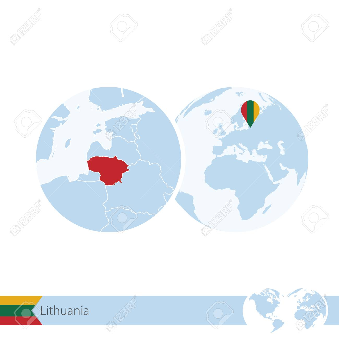 Lithuania on world globe with flag and regional map of lithuania lithuania on world globe with flag and regional map of lithuania illustration stock vector gumiabroncs Gallery