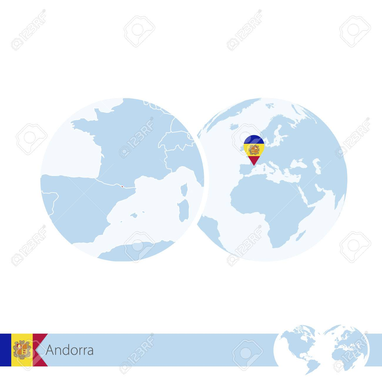 Andorra On World Globe With Flag And Regional Map Of Andorra