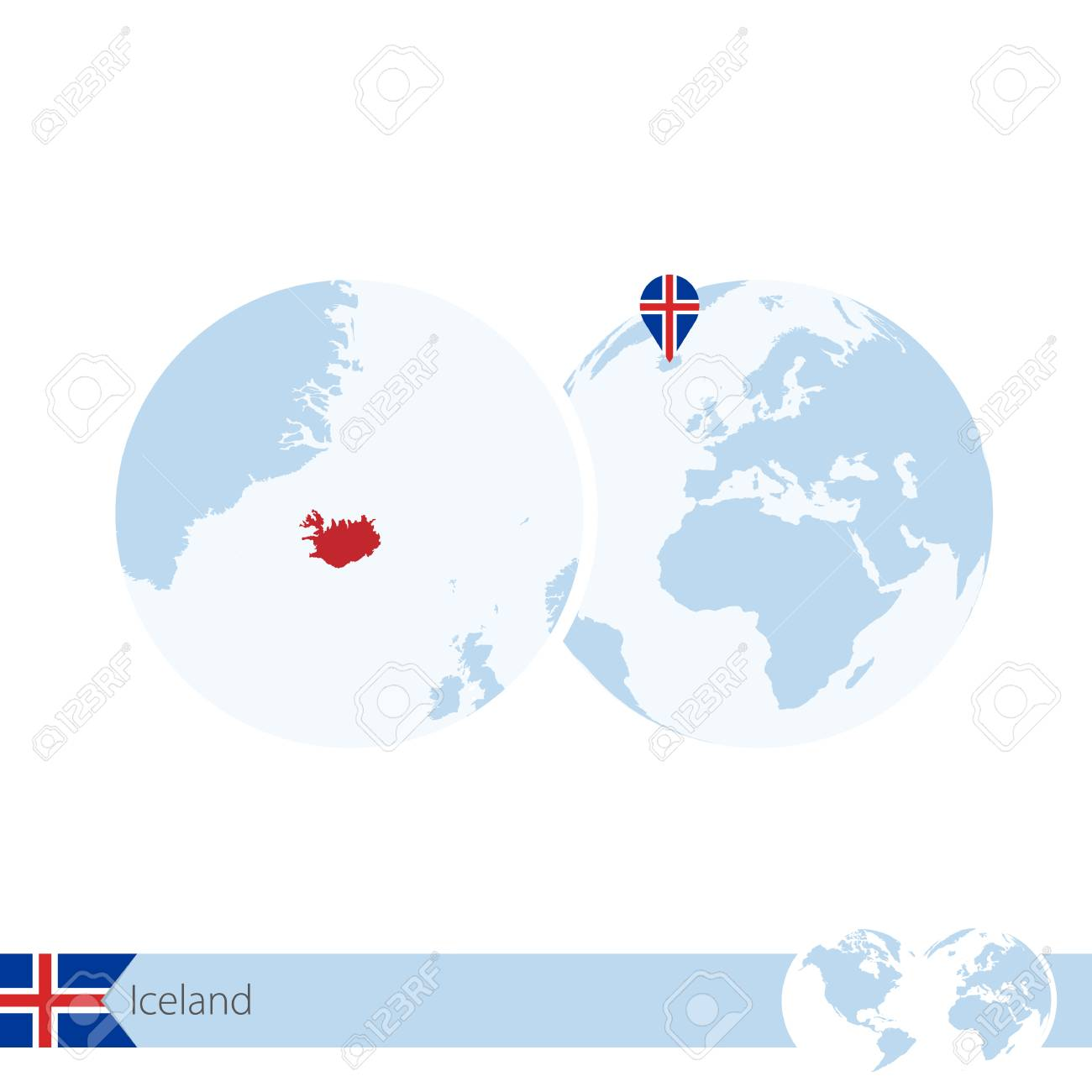 Iceland on world globe with flag and regional map of iceland iceland on world globe with flag and regional map of iceland illustration stock vector gumiabroncs