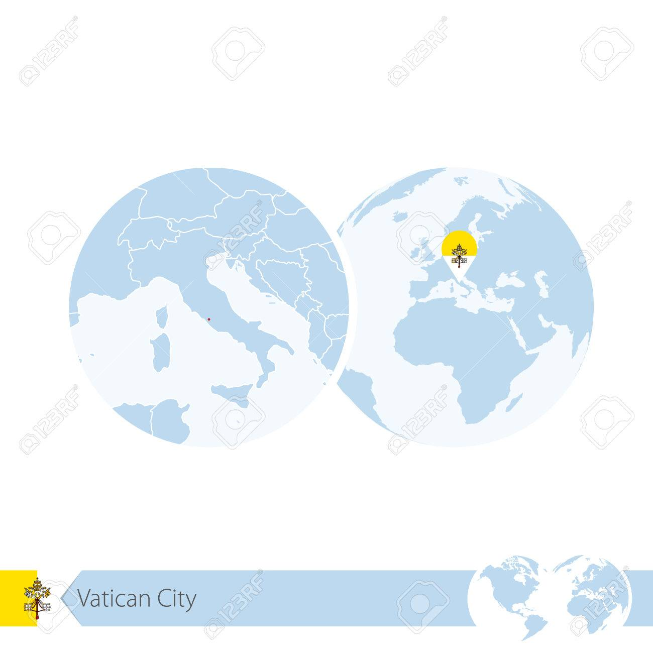 Vatican city on world globe with flag and regional map of vatican vatican city on world globe with flag and regional map of vatican city illustration gumiabroncs Image collections