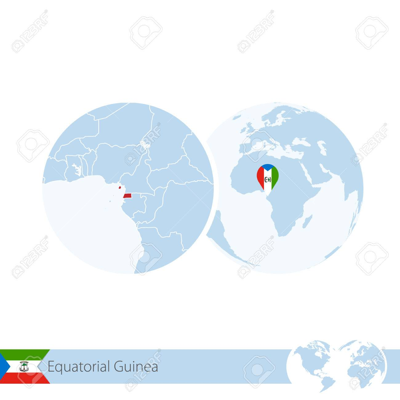 Equatorial Guinea on world globe with flag and regional map of..