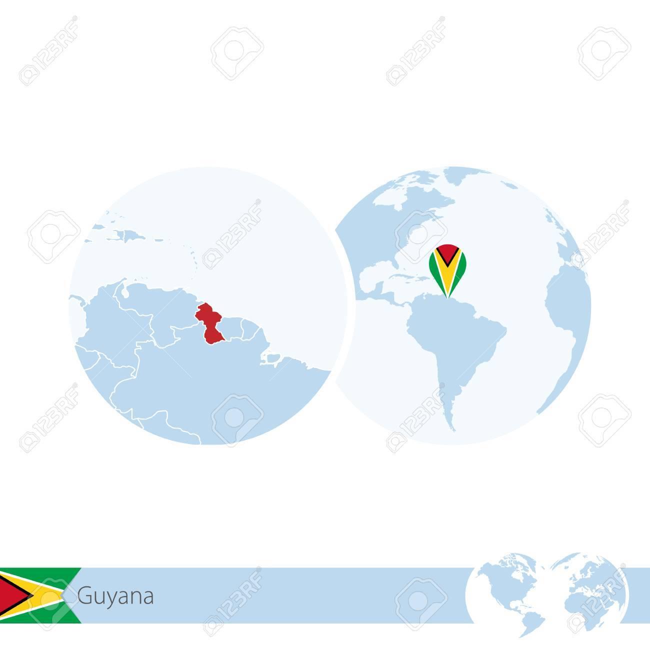 Guyana On World Globe With Flag And Regional Map Of Guyana Vector