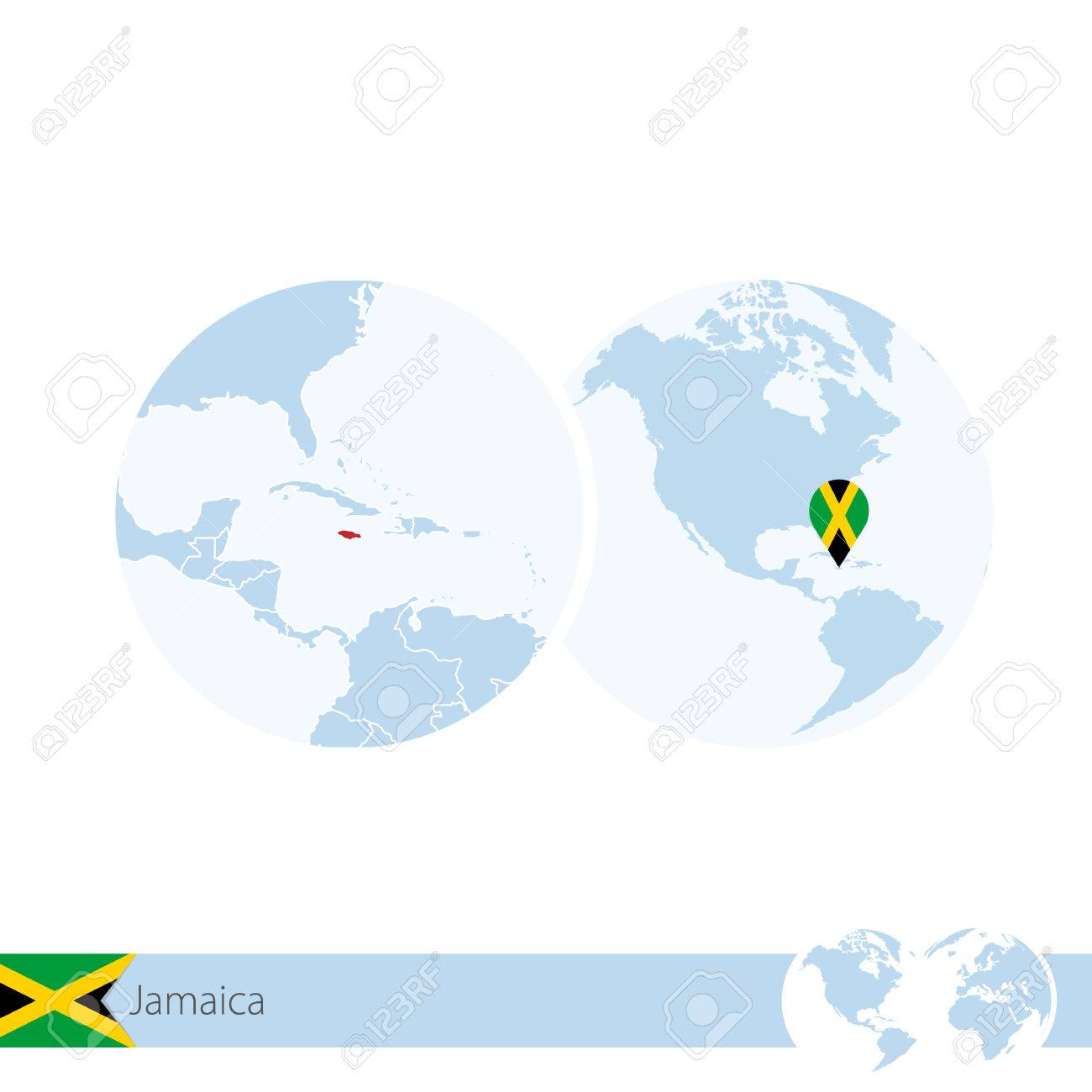 Jamaica On World Globe With Flag And Regional Map Of Jamaica. Vector  Illustration. Stock
