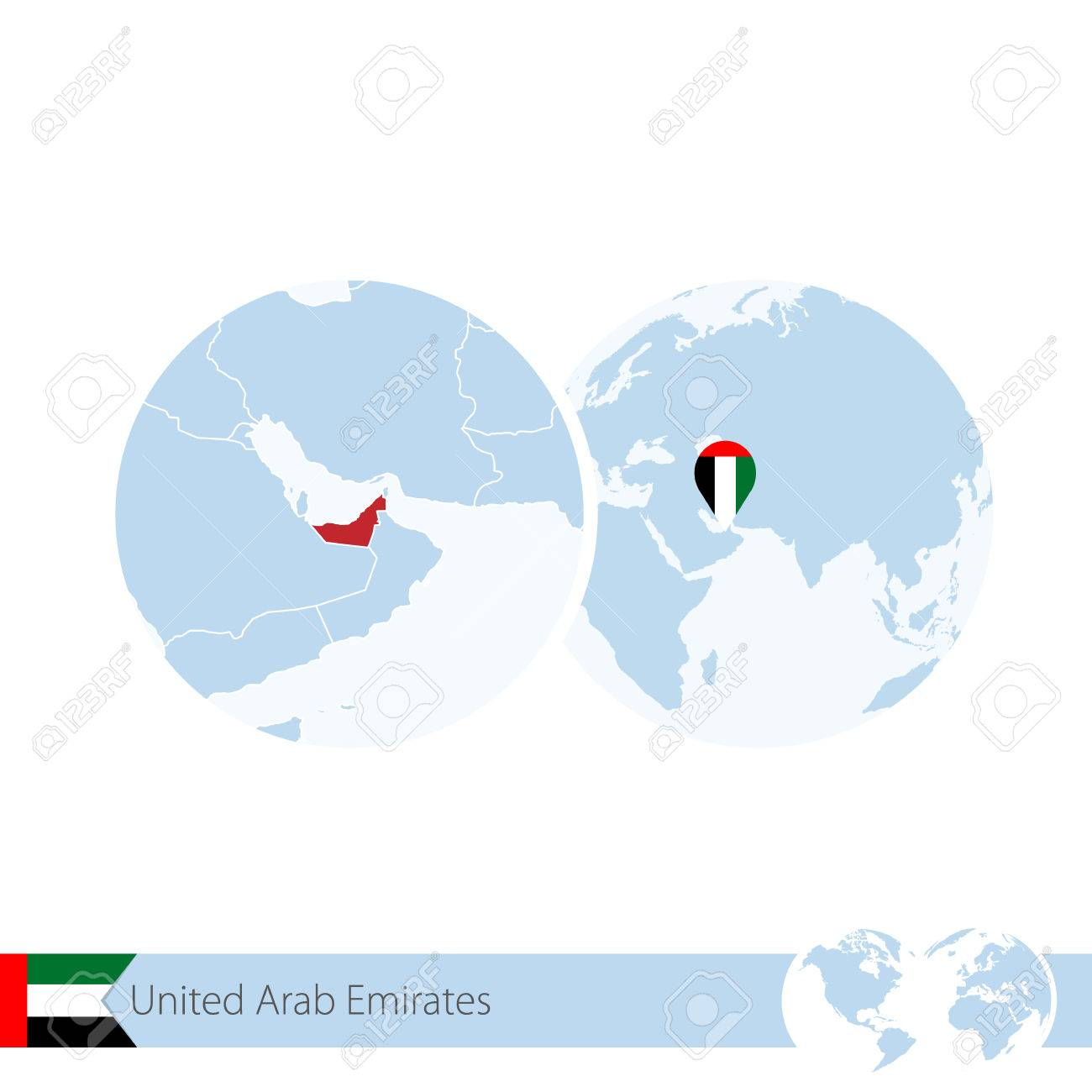 Picture of: United Arab Emirates On World Globe With Flag And Regional Map Royalty Free Cliparts Vectors And Stock Illustration Image 66691317