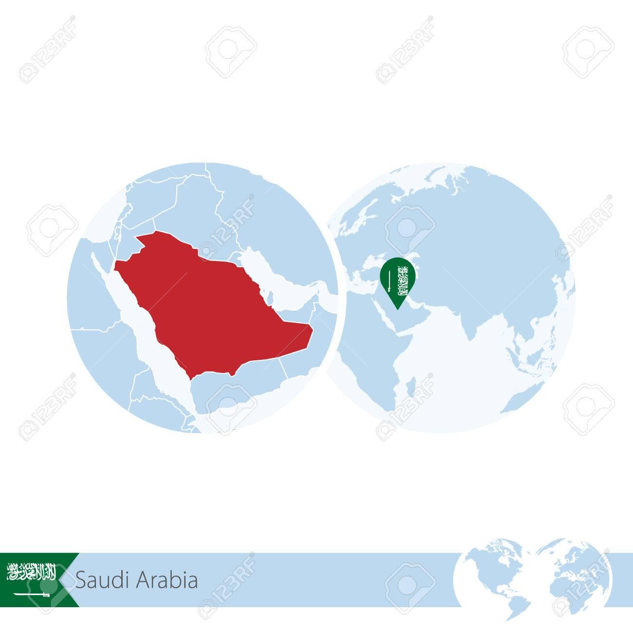 Saudi Arabia On World Globe With Flag And Regional Map Of Saudi ...