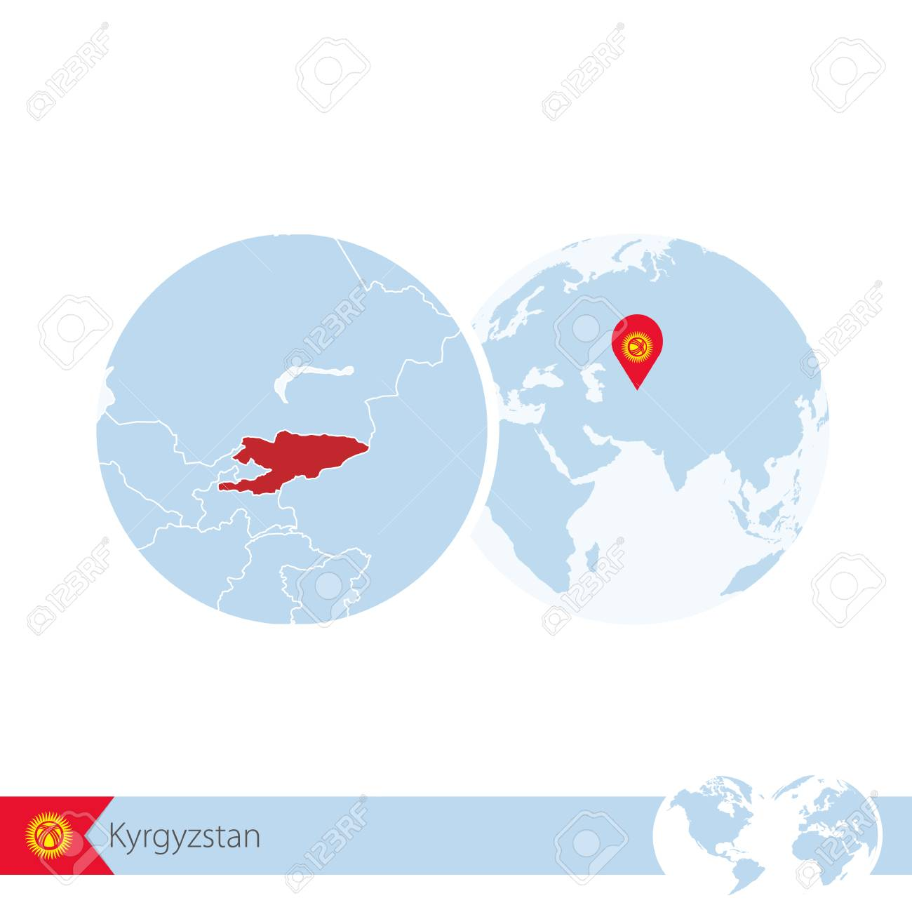 Kyrgyzstan on world globe with flag and regional map of kyrgyzstan kyrgyzstan on world globe with flag and regional map of kyrgyzstan vector illustration stock gumiabroncs Image collections
