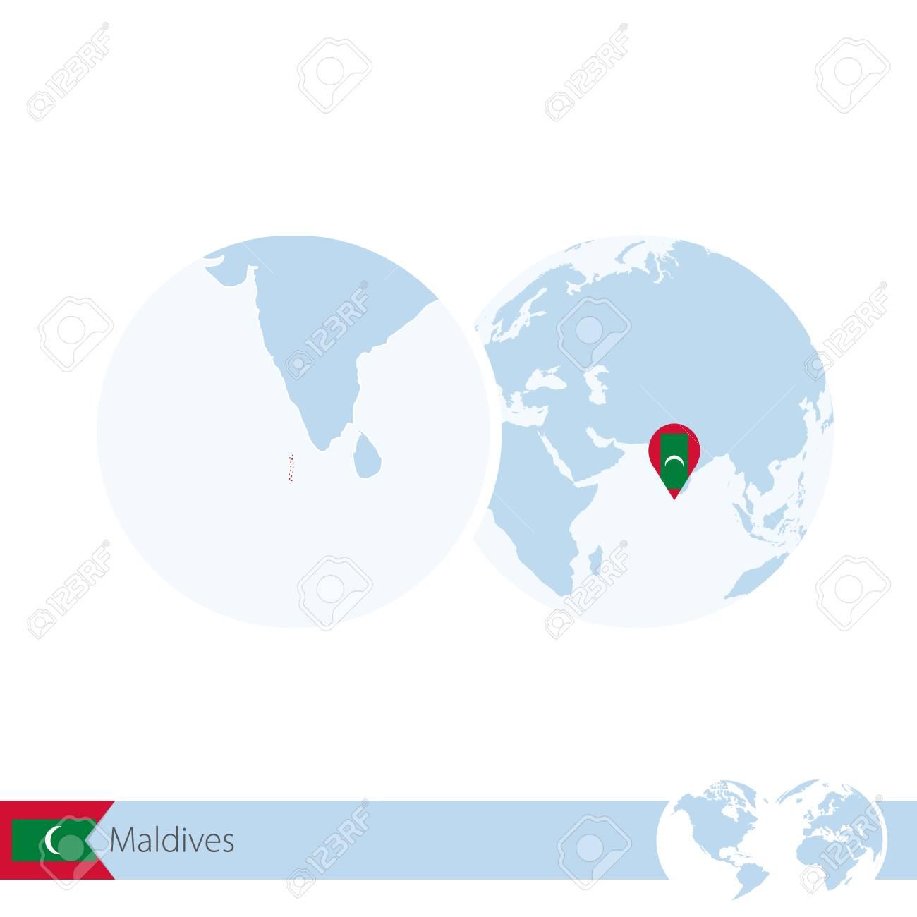 Maldives on world globe with flag and regional map of Maldives...
