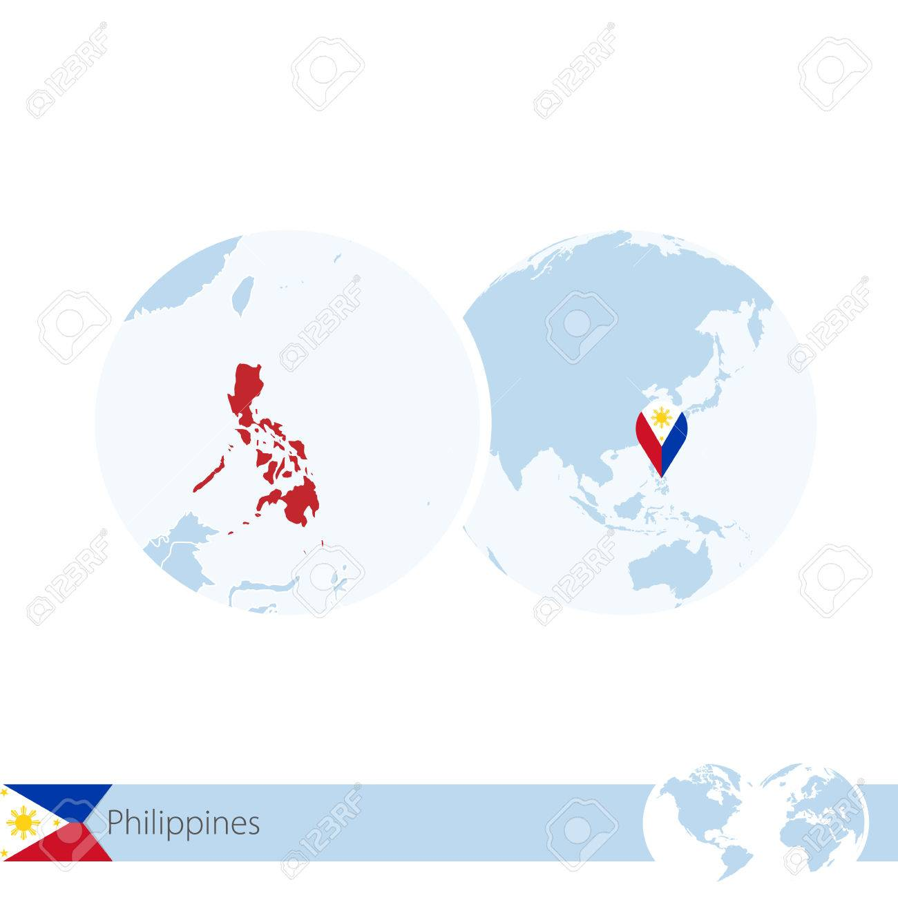 Picture of: Philippines On World Globe With Flag And Regional Map Of Philippines Royalty Free Cliparts Vectors And Stock Illustration Image 66691395
