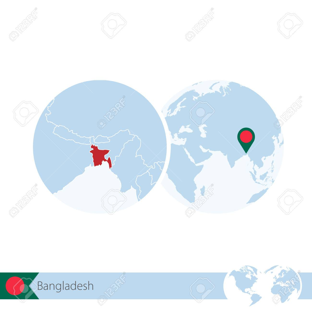 Picture of: Bangladesh On World Globe With Flag And Regional Map Of Bangladesh Royalty Free Cliparts Vectors And Stock Illustration Image 66691470