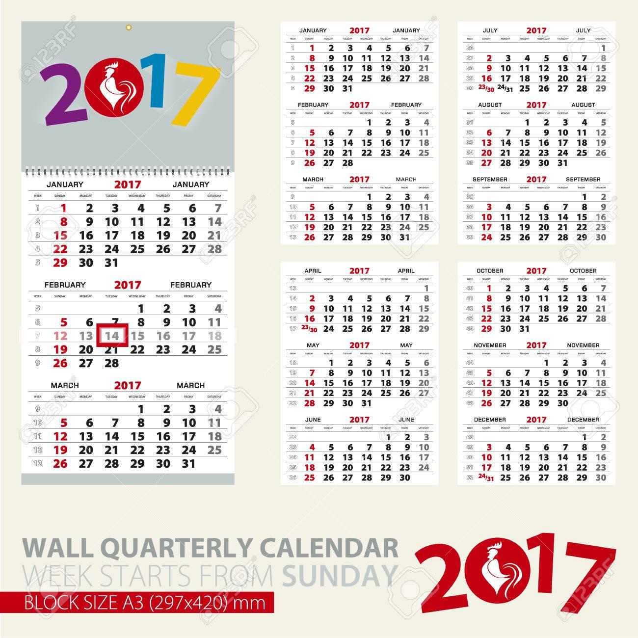 calendar for 2017 year print template of wall quarterly calendar block size a3