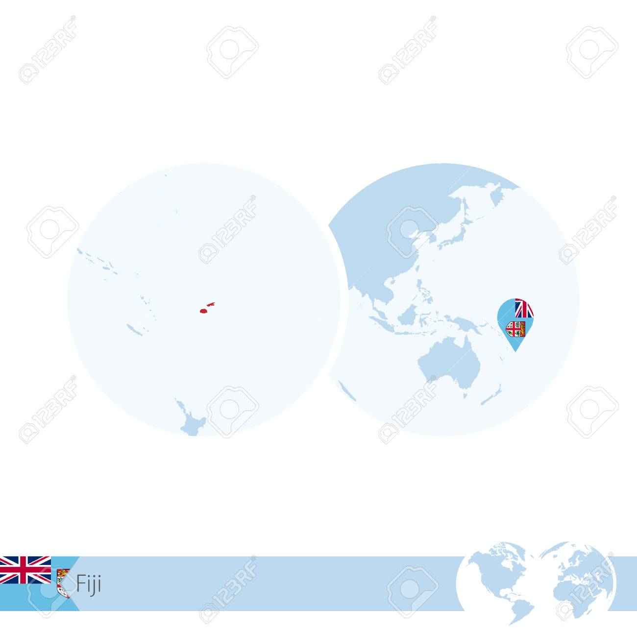 Fiji on world globe with flag and regional map of fiji vector fiji on world globe with flag and regional map of fiji vector illustration stock gumiabroncs