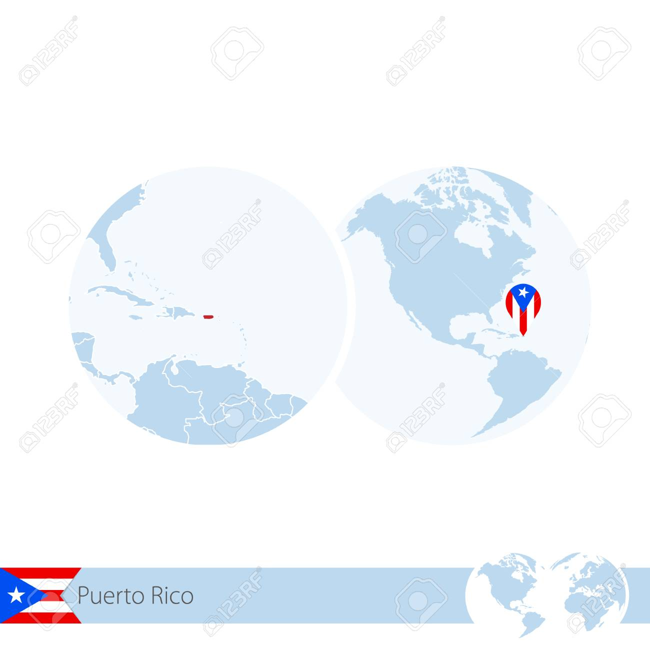 Puerto Rico on world globe with flag and regional map of Puerto..