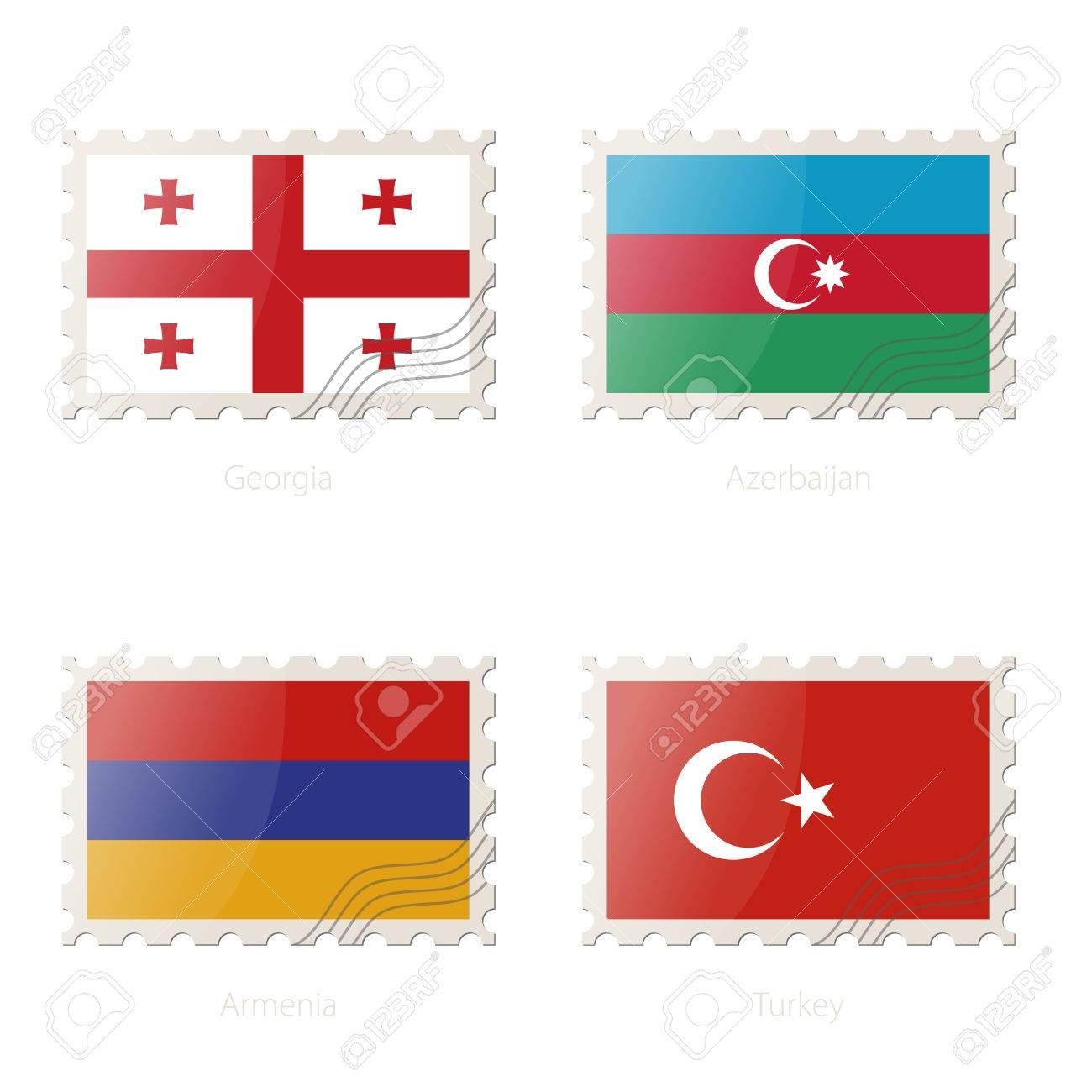 Briefmarke Mit Dem Bild Von Flagge Georgia Aserbaidschan Armenien Die Turkei Vektor Illustration Lizenzfrei Nutzbare Vektorgrafiken Clip Arts Illustrationen Image 66692436