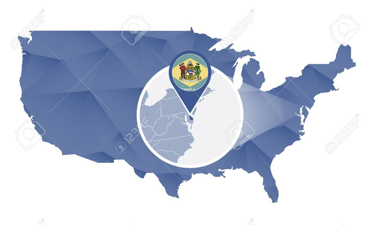 Delaware State Magnified On United States Map. Abstract USA Map ...