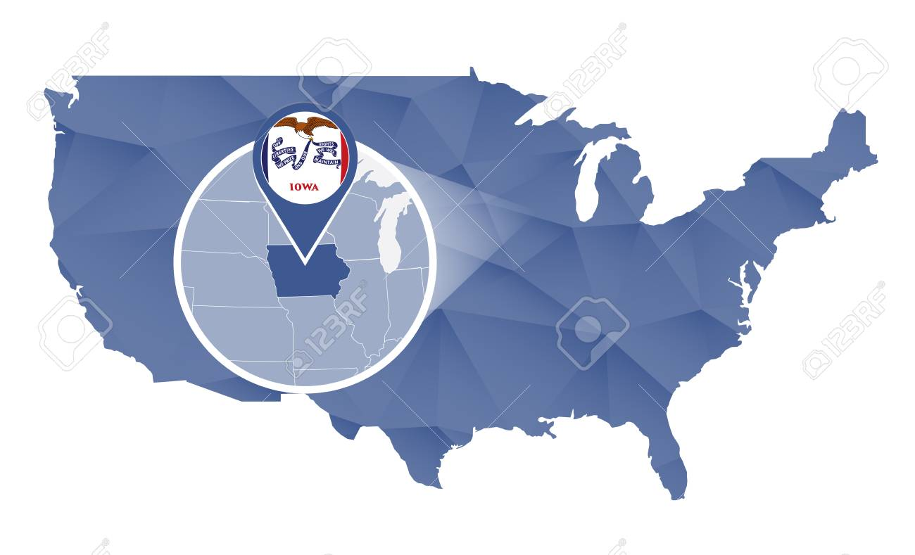 Iowa State Magnified On United States Map. Abstract USA Map In ...