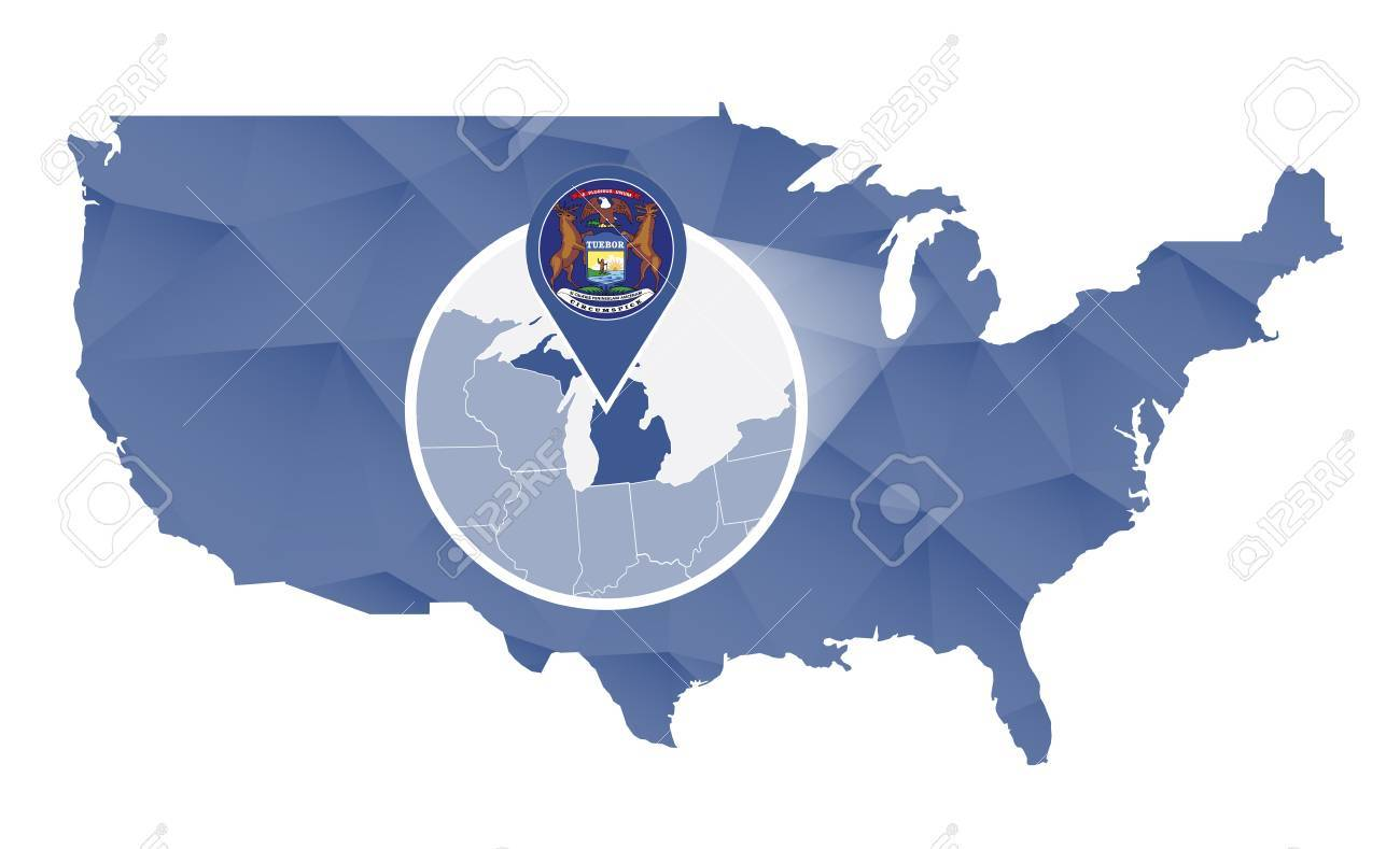 Michigan State Magnified On United States Map Abstract USA Map
